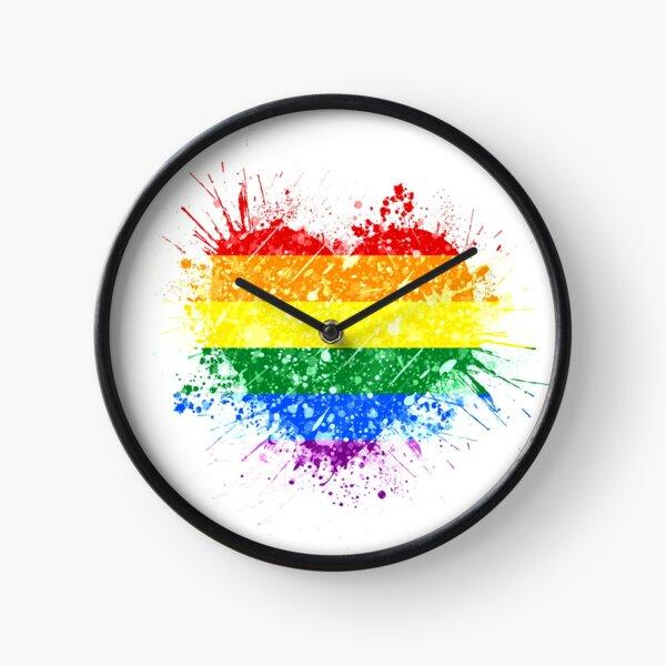 Rainbow Heart Pride Clock
