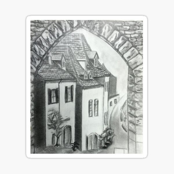 A Street In France Drawing Sticker