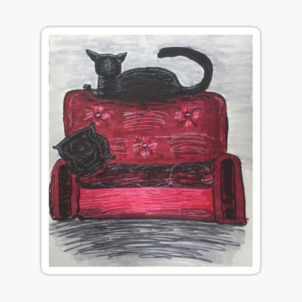 Anti-Social Black Cat Illustration Sticker