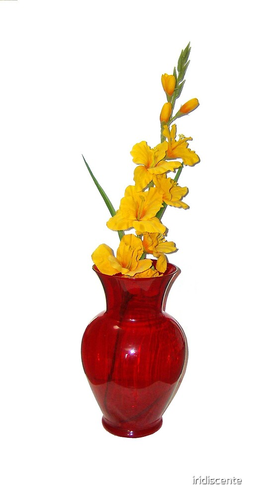 Yellow Flower Red Vase by iridiscente