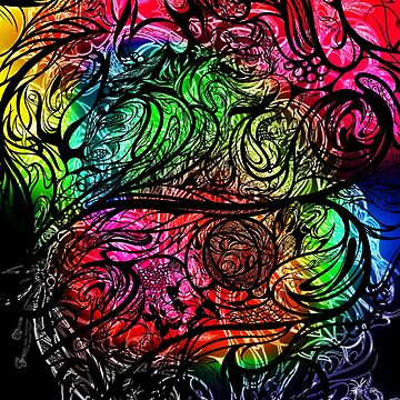 Zen Doodle 8 Chromatic Chaos Rainbow Pride by EdgeWares
