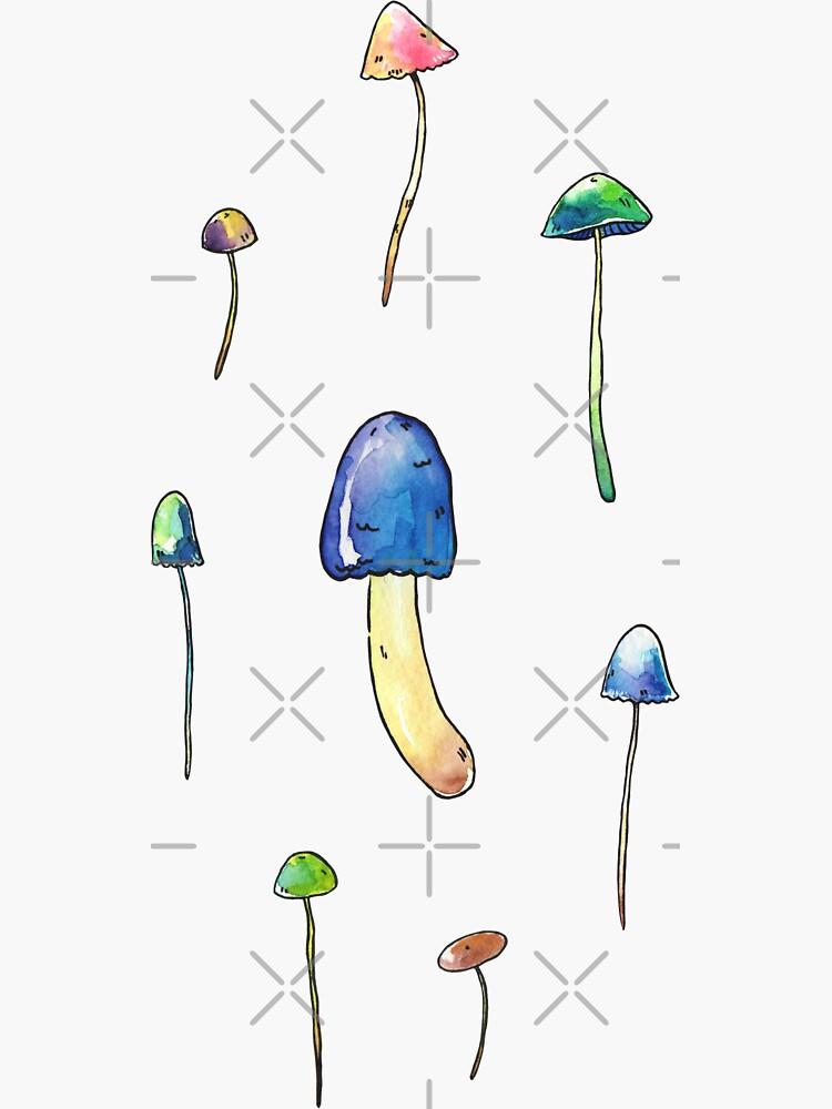 Cool Toned Watercolor Mushroom Stickers by seasofstars