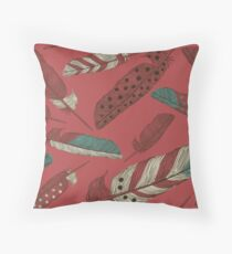 Painted Feathers Throw Pillow