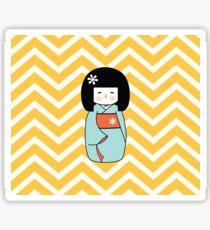 Blue Kokeshi on Chevron Pattern Sticker