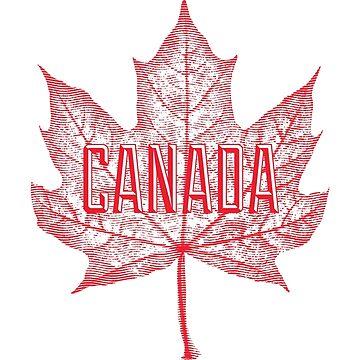 Hoja de arce de azúcar de Canadá en rojo de Garaga