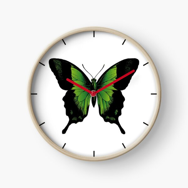 Green Butterfly | Vintage Butterfly | Green and Black | Clock