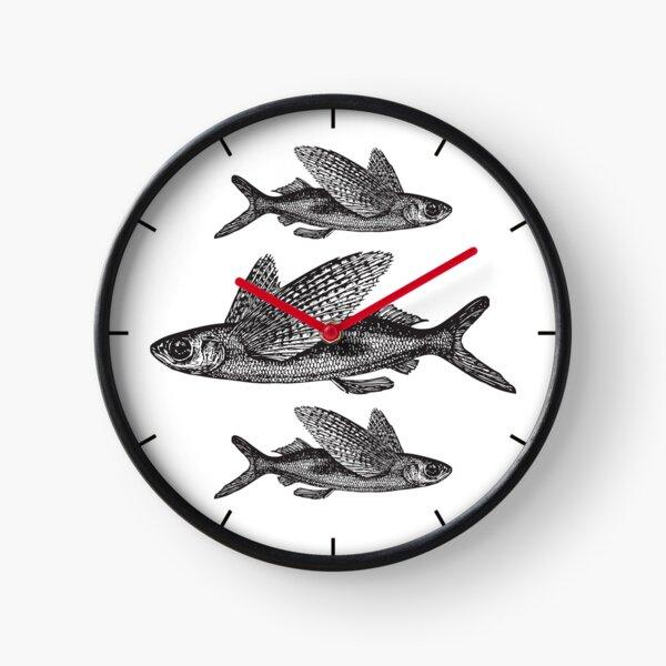 Flying Fish | Vintage Fish | Three Fish | Black and White |  Clock