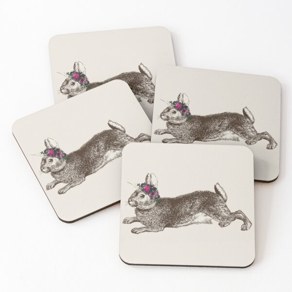 The Rabbit and Roses | Rabbit and Flowers | Vintage Rabbits | Bunny Rabbits | Bunnies | Hares |  Coasters (Set of 4)