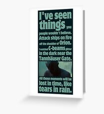 like tears in rain - blade runner quote  Greeting Card