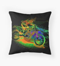 Race to the Finish! - Motocross Racer Throw Pillow
