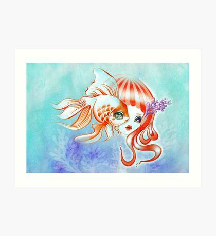 Dreamland Muses - Jellyfish Girl & Goldfish Art Print
