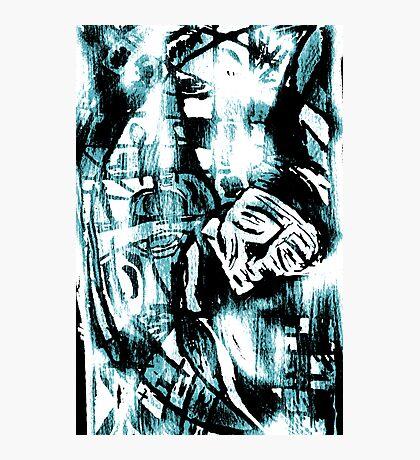 Blue Man Asleep Photographic Print