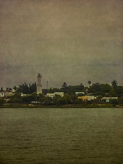 Ship Point of View of Colonia City in Uruguay by DFLC Prints