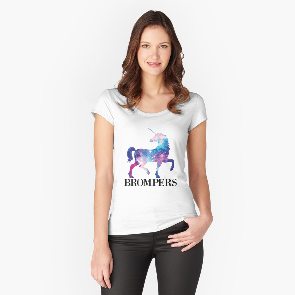9131a8c3f4f4 Women s Fitted Scoop T-Shirt. Brompers Unicorn Tshirt- Male Romper Tee by  travelingpoppy