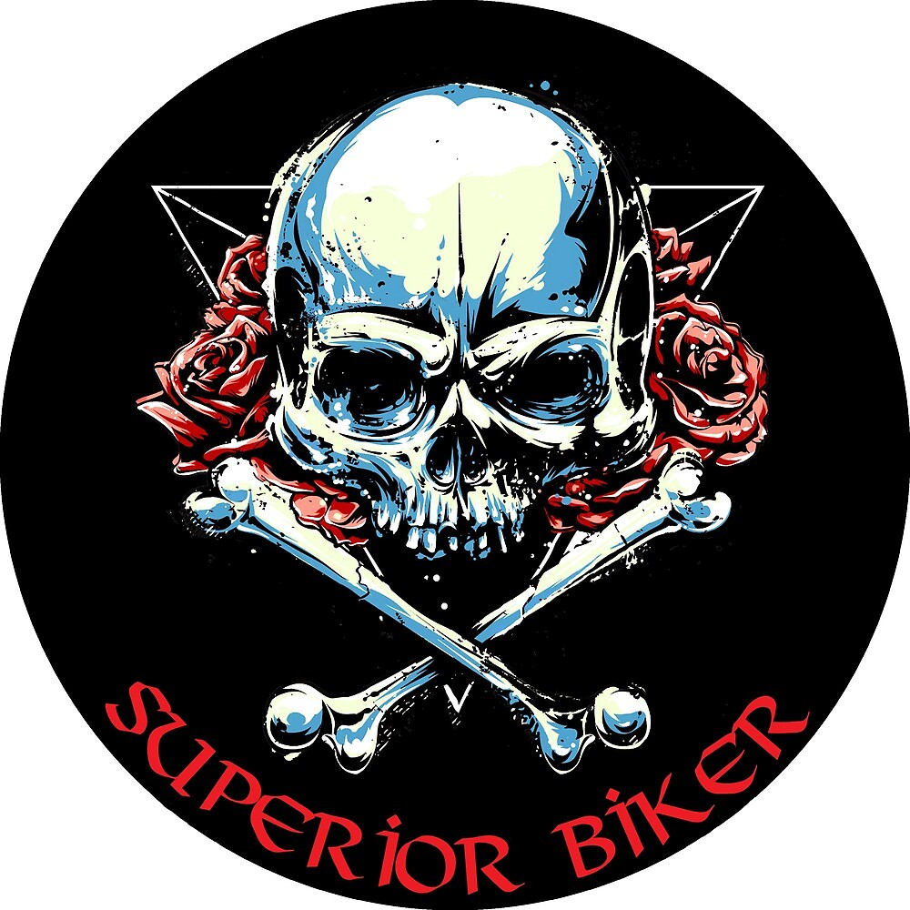 Superior Biker Human Skull with Red Roses by AmorOmniaVincit