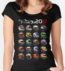 Formula 1 2017, helmets of drivers Women's Fitted Scoop T-Shirt