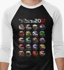Formula 1 2017, helmets of drivers Men's Baseball ¾ T-Shirt