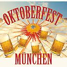 Symbolic representation of Oktoberfest beer festival in Munich,  vintage flair poster by gameover