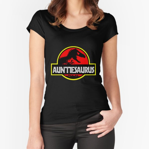 Auntiesaurus Rex - Funny Auntie Shirts Fitted Scoop T-Shirt