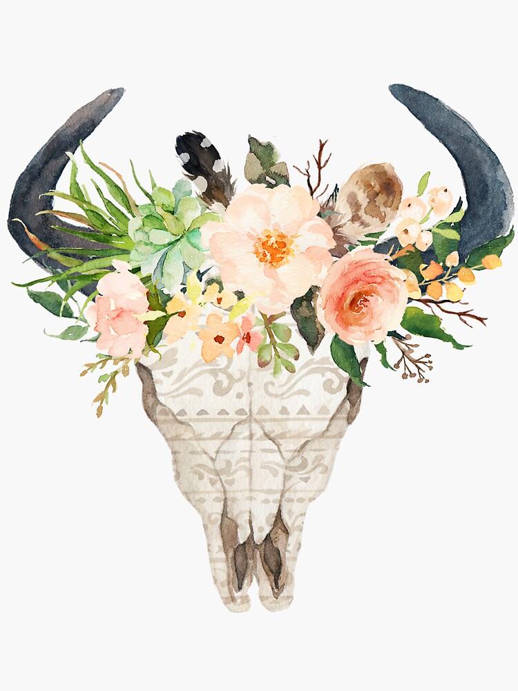 Aquarell Bull Schädel mit Blumen von joellis