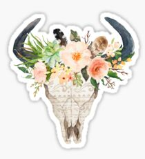 Watercolour bull skull with flowers Sticker