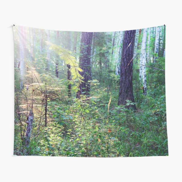 Sunny morning in the forest Tapestry