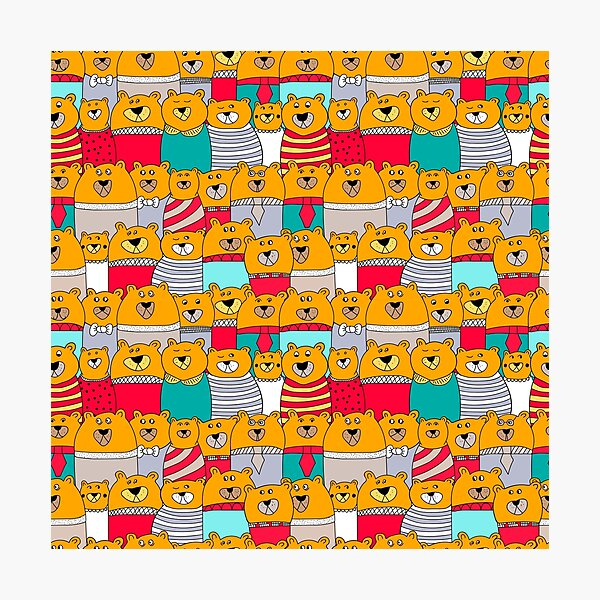 Funny yellow teddy bears Photographic Print