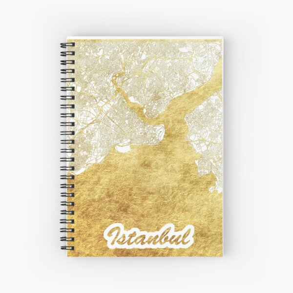 Istanbul Map Gold Spiral Notebook
