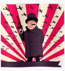 Churchill with a Tommy Gun Poster