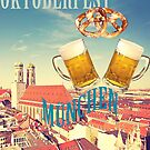 Munich beer and pretzels to celebrate Oktoberfest beer festival, poster with vintage flair by gameover
