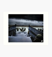 Men of the 16th Infantry Regiment, U.S. 1st Infantry Division wade ashore on Omaha Beach on the morning of 6 June 1944 #DDay Art Print