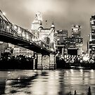 Cincinnati Ohio Skyline Cityscape Downtown - Monochrome by Gregory Ballos