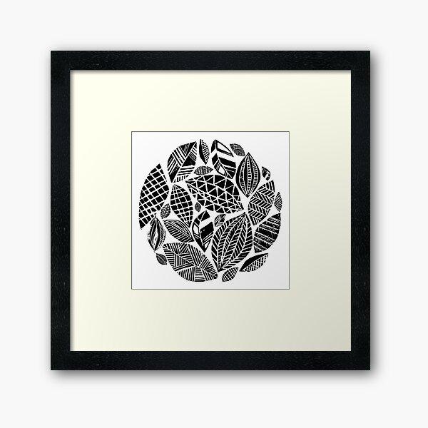 Geometrical nature print / little geometric leaves Framed Art Print