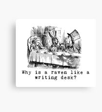 Why is a raven like a writing desk? Canvas Print