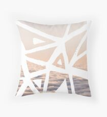 Geometric lino cut printed pattern in combination with photography, nature inspired Throw Pillow