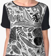 Mixed leaves, Lino cut printed nature inspired hand printed pattern Chiffon Top