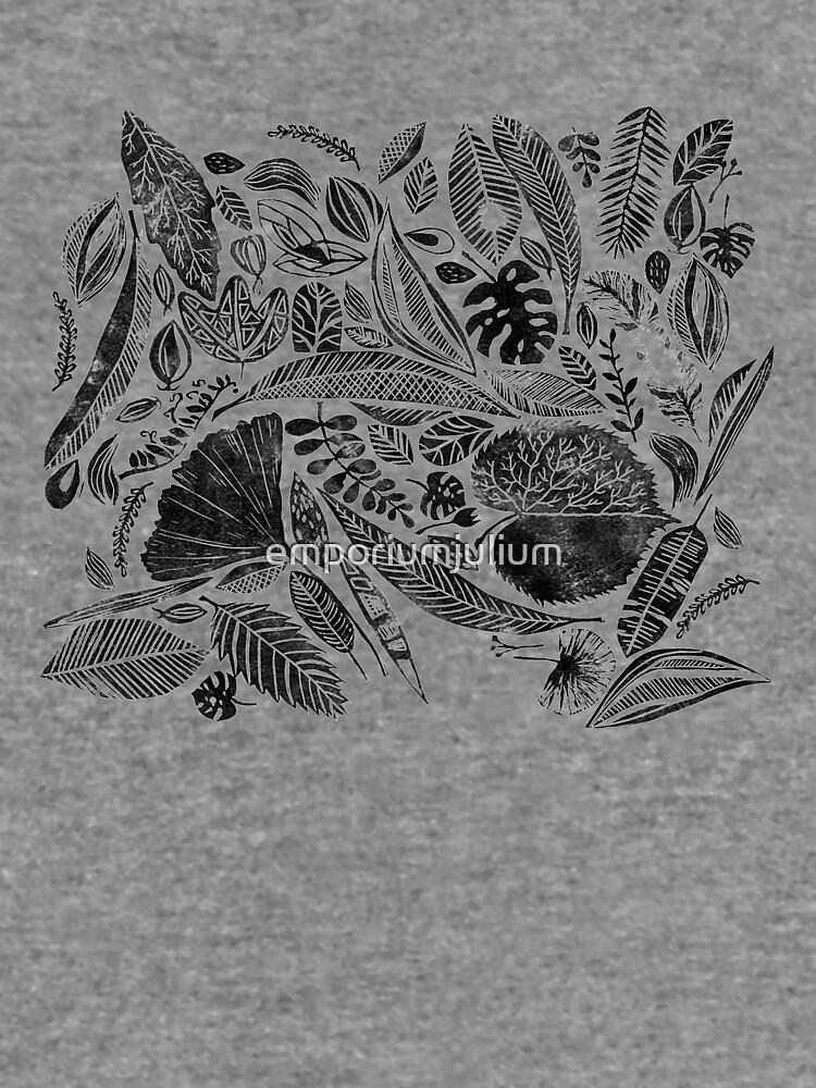Gemischte Blätter, Lino Schnitt gedruckte Natur inspiriert Hand gedruckt Muster von emporiumjulium