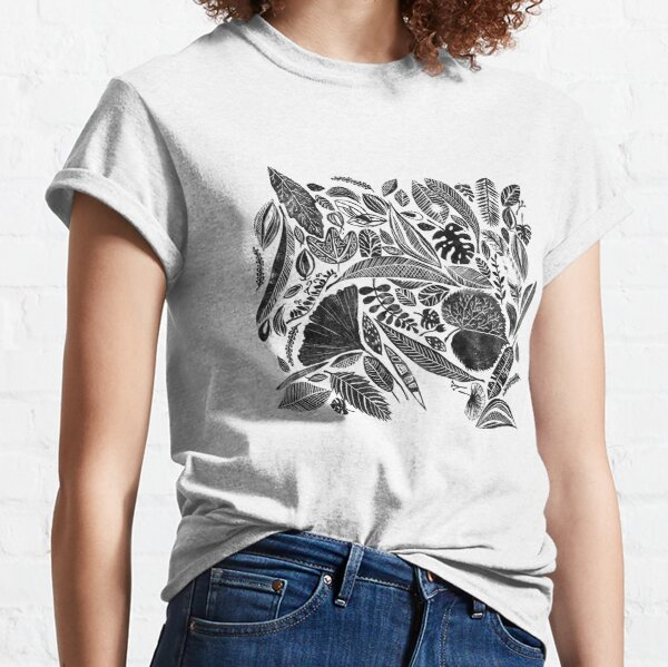 Mixed leaves, Lino cut printed nature inspired hand printed pattern Classic T-Shirt