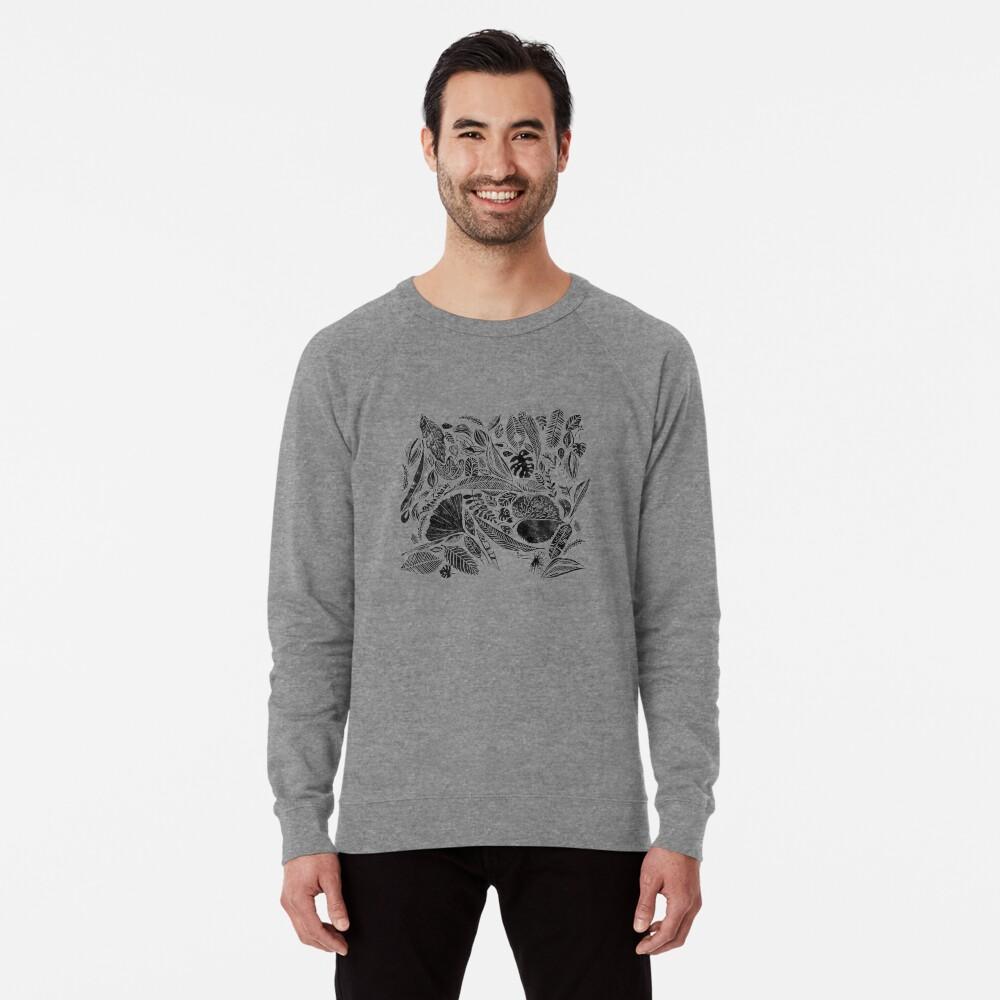 Gemischte Blätter, Lino Schnitt gedruckte Natur inspiriert Hand gedruckt Muster Leichter Pullover