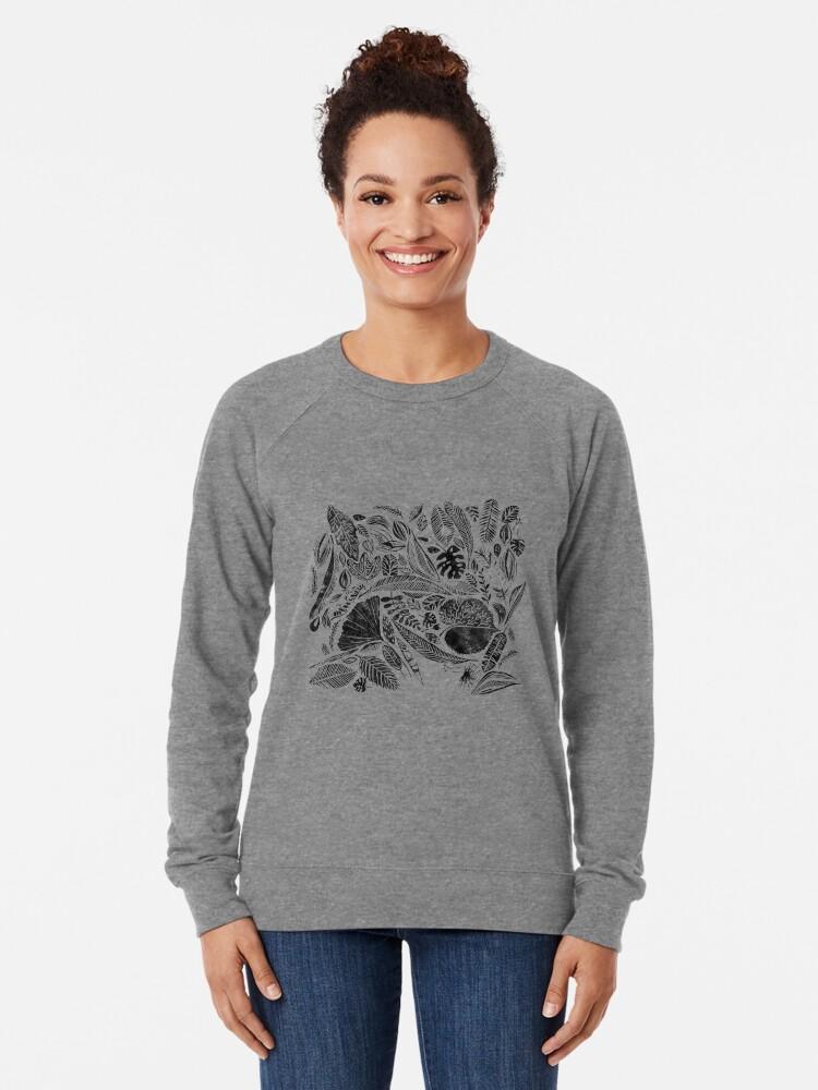 Alternative Ansicht von Gemischte Blätter, Lino Schnitt gedruckte Natur inspiriert Hand gedruckt Muster Leichter Pullover