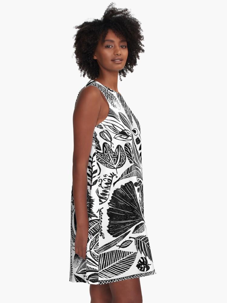 Alternative Ansicht von Gemischte Blätter, Lino Schnitt gedruckte Natur inspiriert Hand gedruckt Muster A-Linien Kleid