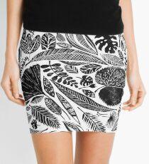 Mixed leaves, Lino cut printed nature inspired hand printed pattern Mini Skirt