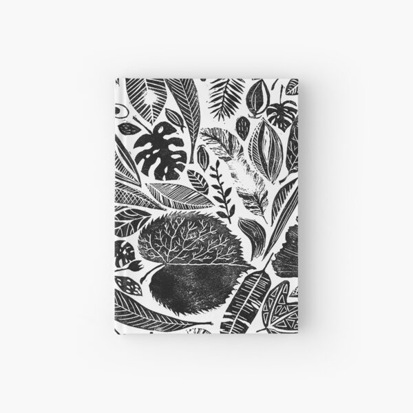 Mixed leaves, Lino cut printed nature inspired hand printed pattern Hardcover Journal