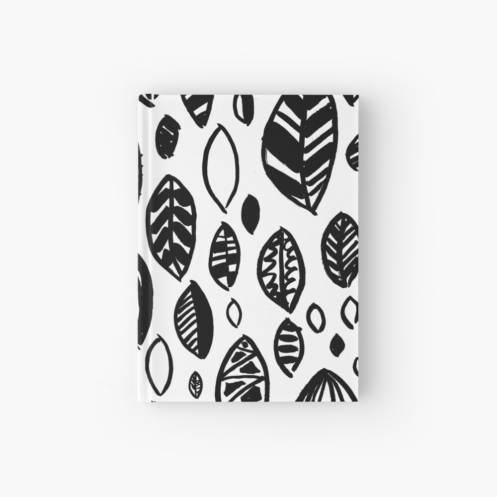 Hand Drawn Leaf Pattern Nature Inspired Handmade Drawing Painting Leaves Black And White Hardcover Journal By Emporiumjulium Redbubble