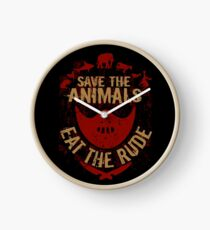 save the animals, EAT THE RUDE Clock