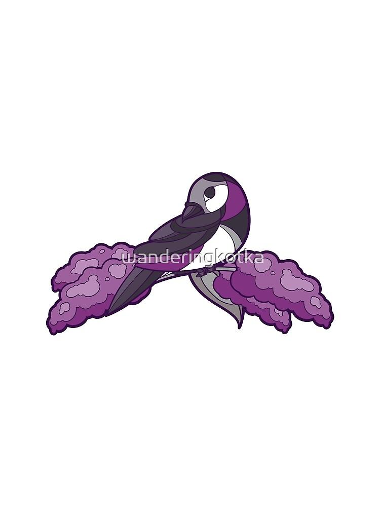 Pride Birds - Asexual, Demisexual, Grey-Asexual by wanderingkotka