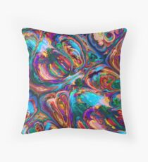 Liquid Abstract Flowing Swimming Intense Colors Throw Pillow