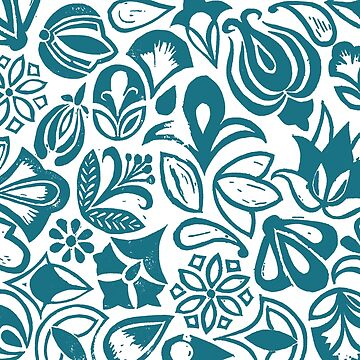 BLUE GARDEN, Blue floral folksy pattern, Lino cut printed nature inspired hand printed pattern by emporiumjulium