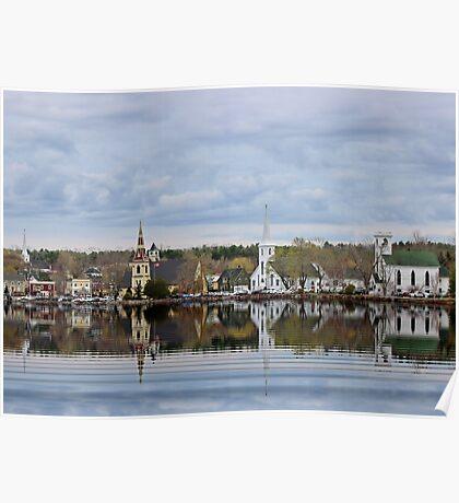 Five Churches of Mahone Bay Lunenburg County Nova Scotia Canada (view large) Poster