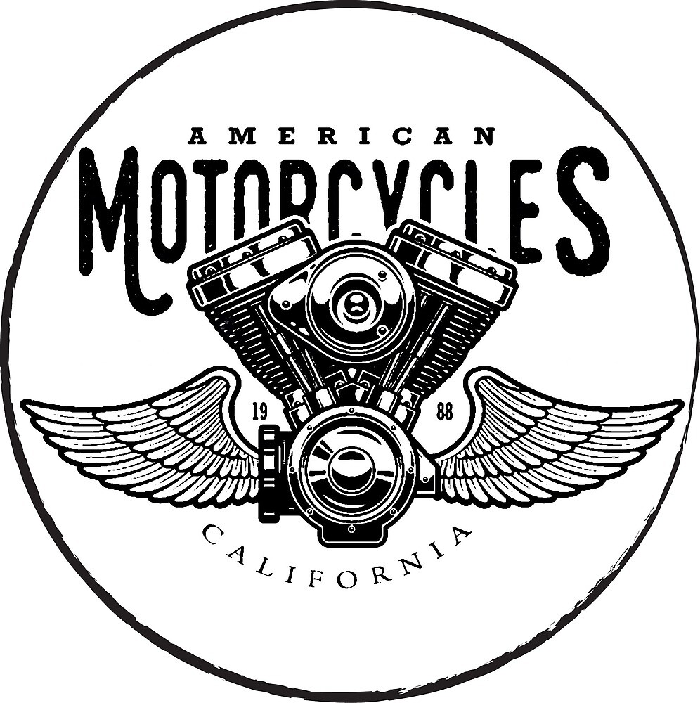 American Motorcycles Emblem with Black Wings by AmorOmniaVincit